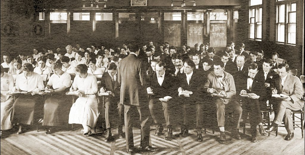 Achival Photo or individuals in a classroom